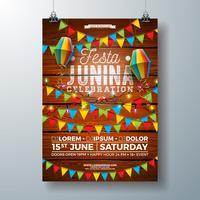 Festa Junina Party Flyer Design con bandiere, lanterna di carta e disegno di tipografia su fondo di legno dell'annata. Vector tradizionale Brasile giugno Festival Illustrazione