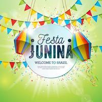 Illustrazione di Festa Junina con le bandiere del partito e lanterna di carta su fondo verde brillante. Vector Brasile giugno Festival Design