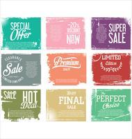 Collezione di etichette vintage grunge retrò di qualità Premium
