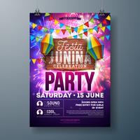 Festa Junina Party Flyer Design con bandiere, lanterna di carta e design tipografia su sfondo di fuochi d'artificio. Vector tradizionale Brasile giugno Festival Illustrazione