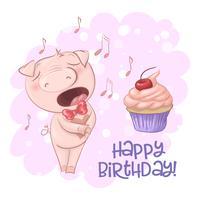 Cartolina carino maiale canoro con un cupcake e note. Stile cartone animato Vettore