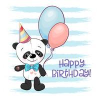 Illustrazione di un panda cartone animato carino con palloncini vettore