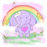 Cartolina carino piccoli elefanti fiori e farfalle. Stile cartone animato vettore