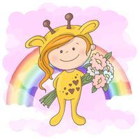 Ragazza carina cartolina sullo sfondo dell'arcobaleno. Stile cartone animato