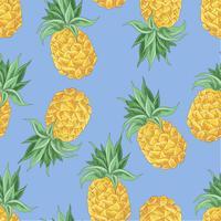 Modello senza cuciture di ananas giallo su sfondo blu. Illustrazione vettoriale
