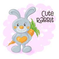Illustrazione del coniglietto simpatico cartone animato con una carota. Vettore