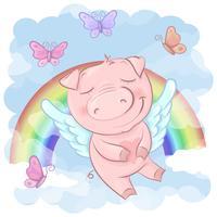 Illustrazione di un cartone animato carino maiale su uno sfondo arcobaleno. Vettore