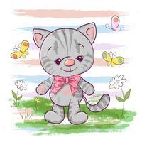 Illustrazione di un simpatico gattino con fiori e farfalle. Stampa per vestiti o camera dei bambini vettore