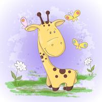 Cartolina carino giraffa fiori e farfalle. Stile cartone animato