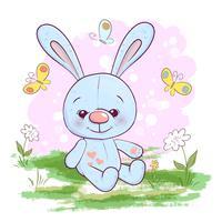 Illustrazione cartolina carino piccola lepre fiori e farfalle. Stampa su vestiti e stanza dei bambini vettore