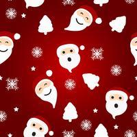 Modello di Natale senza soluzione di continuità con Babbo Natale e albero su sfondo rosso