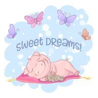 Cartolina carino maiale fiori e farfalle. Stile cartone animato vettore
