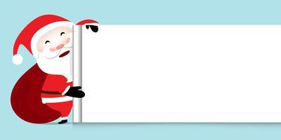 Il fondo in bianco dell'insegna del tabellone per le affissioni di Natale con Santa Claus che mostra e che porta i regali insacca sul fondo blu pastello molle di colore