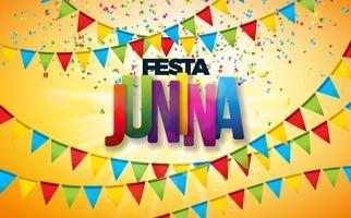 Illustrazione di Festa Junina con le bandiere del partito, i coriandoli variopinti e la lettera di tipografia su fondo giallo. Vector Brasile giugno Festival Design