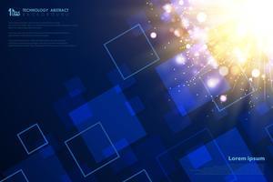 Modello quadrato tecnologia di decorazione bagliore di luce futuristica oro. illustrazione vettoriale eps10