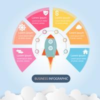 Dati aziendali infographic, diagramma di processo con 6 punti, vettore ed illustrazione