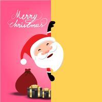 Natale su sfondo rosa tenero, Babbo Natale che mostra il cartellone vuoto giallo, può presentare il tuo lavoro vettore
