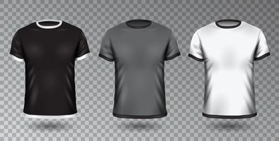 Insieme in bianco di vettore Mock-Up nero, grigio e bianco di t-shirt.
