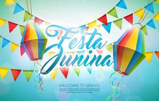 Illustrazione di Festa Junina con le bandiere del partito e lanterna di carta su fondo blu. Vector Brasile giugno Festival Design