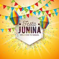 Illustrazione di Festa Junina con le bandiere del partito e lanterna di carta su fondo giallo. Vector Brasile giugno Festival Design