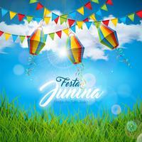 Illustrazione di Festa Junina con le bandiere del partito e lanterna di carta sul fondo blu del cielo nuvoloso. Vector Brasile giugno Festival Design