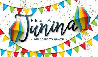 Illustrazione di Festa Junina con le bandiere del partito e lanterna di carta su fondo bianco. Vector Brasile giugno Festival Design