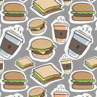 Fondo disegnato a mano degli hamburger e degli alimenti a rapida preparazione del modello. Illustrazione vettoriale