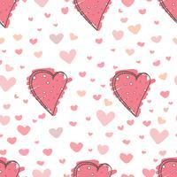 Fondo astratto del modello del cuore, modello di stile di scarabocchio di amore, illustrazione di vettore.