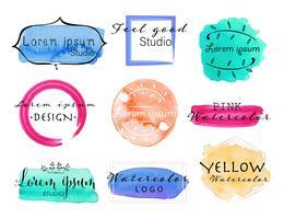 Insieme di logo dell'acquerello, insieme di progettazione di logo femminile, illustrazione variopinta di vettore.