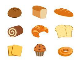 Raccolta di panetteria fresca insieme isolato su sfondo bianco - illustrazione vettoriale