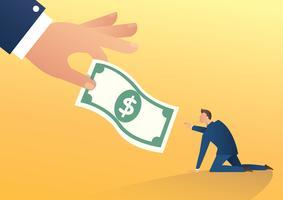 la grande mano umana dà i soldi all'illustrazione di vettore dell'uomo d'affari