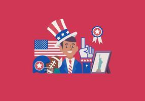 Illustrazione americana di vettore di festa dell'indipendenza