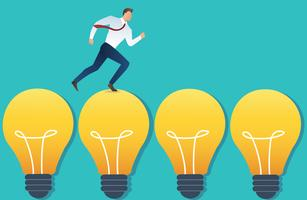 illustrazione dell'uomo d'affari corrente sul concetto di idea della lampadina