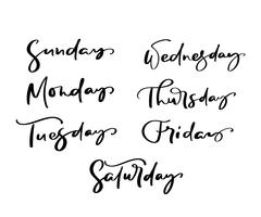 Lettering decorativo disegnato a mano dei giorni della settimana con diverse lettere in isolato su sfondo bianco per calendario, planner, diario, decorazione, adesivo, poster