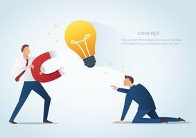 il magnete della tenuta dell'uomo d'affari attira le lampadine rubano il lavoro dal collega, illustrazione di vettore di plagio