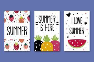 Collezione di carte estive vettore
