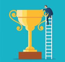 un uomo sulla scala con illustrazione vettoriale trofeo