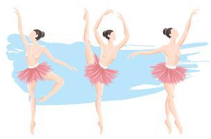 insieme della ballerina della donna, icona di logo di balletto per l'illustrazione di vettore dello studio di ballo della scuola di balletto