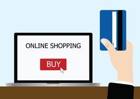 vettore della mano che tiene la carta di credito per lo shopping online
