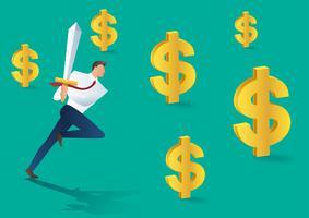 uomo d'affari con la spada in esecuzione e icona del dollaro, concetto di business di successo. Illustrazione vettoriale