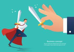 conflitto aggressivo della holding della spada dell'uomo d'affari che combatte con il collega, capo di lotta dell'uomo d'affari all'illustrazione di vettore del lavoro