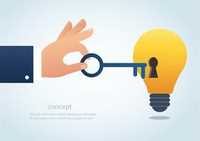 mano che tiene la grande chiave con il buco della serratura sulla lampadina, concetto di vettore di pensiero creativo