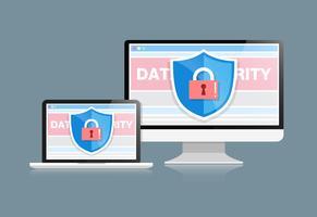 Il concetto è la sicurezza dei dati. Shield on Computer Desktop o Labtop proteggono i dati sensibili. Sicurezza di Internet. Illustrazione vettoriale.or vettore