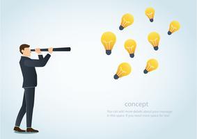 uomo d'affari guardando attraverso un telescopio e una lampadina, il concetto di visione creativa del business