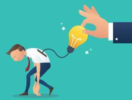 grande mano cercando di prendere la lampadina, il concetto di rubare lavoro da collega, illustrazione vettoriale plagio