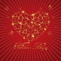 Cartolina d'auguri felice di amore di San Valentino con cuore dell'oro su fondo rosso, progettazione di vettore