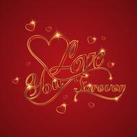 Progetti per la cartolina d'auguri felice di amore di San Valentino con il cuore del testo dell'oro su fondo rosso, progettazione di vettore