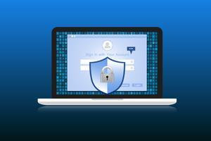 Il concetto è la sicurezza dei dati. Shield su Labtop protegge i dati sensibili. Sicurezza di Internet. Illustrazione vettoriale