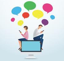 uomo e donna che per mezzo dello smartphone e che si siedono sul computer con la scatola variopinta di chiacchierata, concetto di amore online vettore