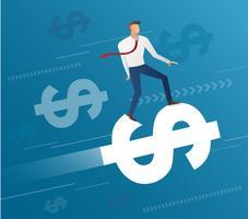giro dell'uomo d'affari sull'icona del dollaro e sul fondo blu, vettore dell'illustrazione di concetto di affari